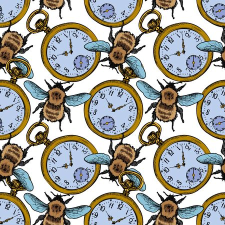 Pocket Watch And Bumblebee Vector Sketch Seamless Pattern