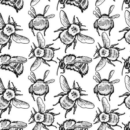 Bumblebee Vector Sketch Seamless Pattern