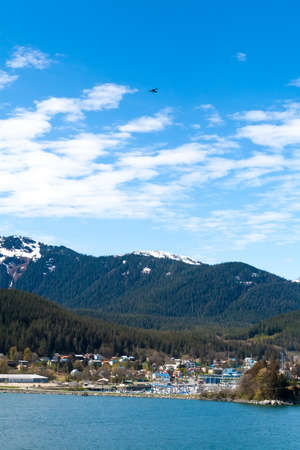 View of Juneau, the capital city of Alaska, with surrounding mountains and forests Stock fotó