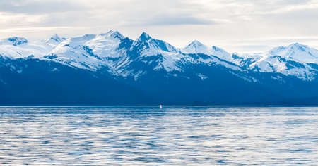 Snow-capped mountains along the coast of Alaska with the blow from a Humpback Whale surfacing visible in the distance