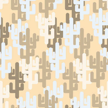 saguaro: Military texture of cactus. Camouflage army desert of silhouettes of plants. Vector seamless pattern. Illustration