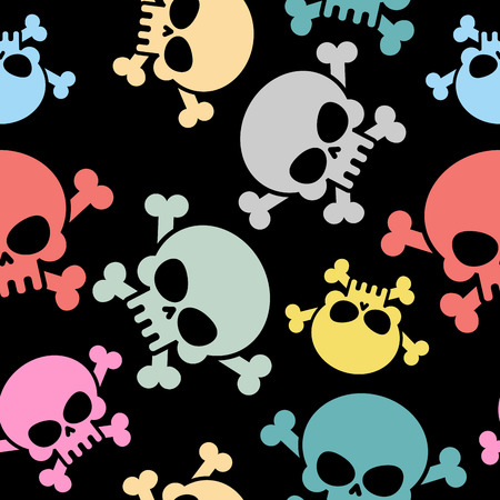 Skull with bones seamless pattern. Colored skull skeleton. Halloween Vector background Ilustracja