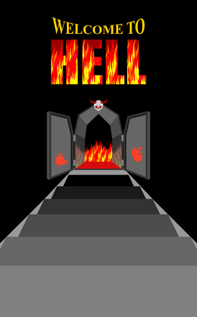 Welcome to hell. Stairway to hell. Iron black gates of  Fiery purgatory. Door to devil, Satan. Stairs in Dungeon. Descent into deep dark cave. Vector illustration on religious subjects. Door is decorated with antlered skull. Illustration