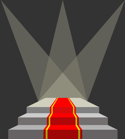 red wallpaper: With a red carpet. Podium and searchlights. Lighting of the pedestal. Vector illustration does not contain transparency effects and overlay Illustration