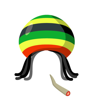 Rasta Cap with dreadlocks on white background. Spliff smoking drug cannabis. Jamaican Hat