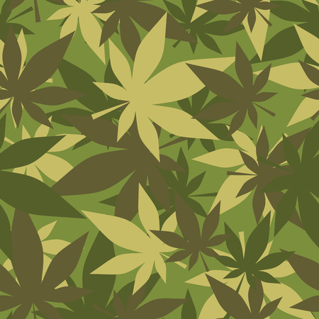 Military texture of marijuana. Soldiers camouflage hemp. Army seamless background from leaves of cannabis. Stock Illustratie