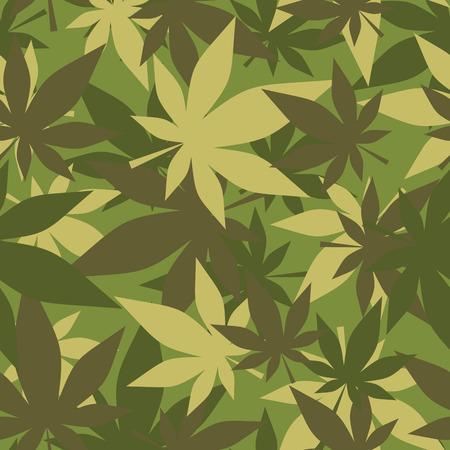 camuflaje: Textura militar de la marihuana. Camuflar soldados c��amo. Ej�rcito de fondo sin fisuras de las hojas de cannabis.