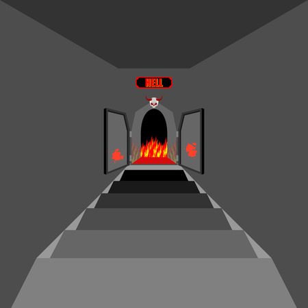 Gate to hell. Open  Fiery gate of purgatory. Door to hell. Entrance to devil. Stairs in Dungeon. Vector illustration on religious subjects