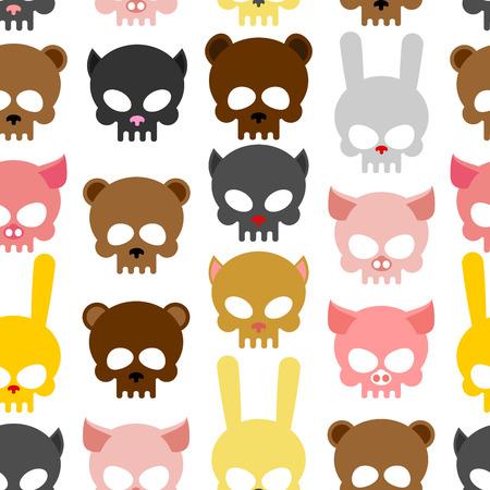 tete de mort: crânes animal seamless pattern. Fond pour l'Halloween. Ours du museau et un cochon. Crâne de lapin et le chat. Head squelette animaux Illustration