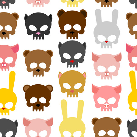 skulls animal seamless pattern. Background for Halloween. Snout bear and a pig. Skull rabbit and cat. Head skeleton pets Illustration