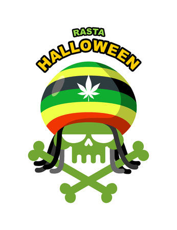 rasta hat: Rasta Halloween Night. Skull addict with dreadlocks and bones. Colored Rasta Cap with leaf marihuanny, hemp. Vector illustration icon for holiday. Illustration
