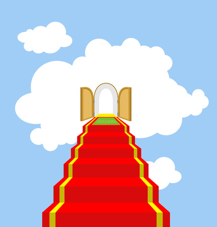 jesus clouds: Open gates of paradise. Ladder into clouds. Degree in sky. Red carpet for ascent into paradise. Vector illustration of Gods ladder. Acent to God, to Jesus.