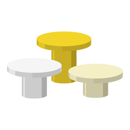 sports winner: Sports Round podium on a white background. Three prizes: gold, silver and bronze. Vector illustration pedestal for winner