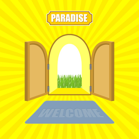 pearly gates: Welcome to paradise. Open gates of paradise gardens. Mat in front of door. Von Glow solar.  Entrance to God. Vector illustration on religious topics