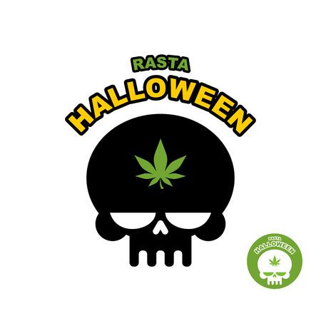 canabis: Skull with marijuana, cannabis. Rasta Halloween. Print logo for dreaded holiday. Illustration