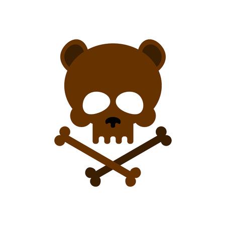 military girl: Cute bear skull with bones. Honey bear  good skeletons head, kind. icon, emblem for Halloween. Brown wild animal skull