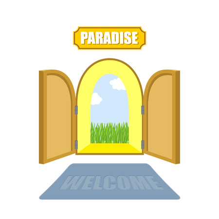 garden eden: Gates of paradise on a white background. Entrance to paradise. Access to God. Open doors to  garden of Eden with blue sky and green grass. Vector illustration of religion