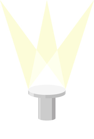 illuminator: Round Pedestal on a white background, with light illuminator. Vector illustration of a podium. Illustration