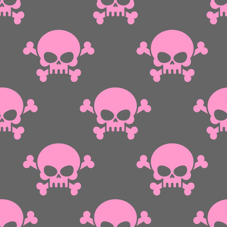 danger skull: Pink skull on a grey background seamless pattern. Head of skeleton and bones. Vector ornament for Halloween.