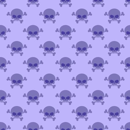 esqueleto: Cráneo con huesos cruzados de fondo. Patrón púrpura inconsútil de la cabeza del esqueleto. Ornamento de Halloween Vectores