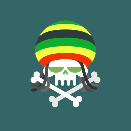 addict: Rasta skull. Skull addict with dreadlocks and bones. Dead from drugs. Colored Rasta Cap. Vector illustration for Halloween.