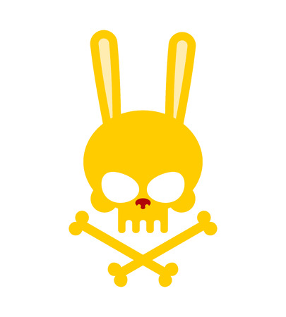 Cute rabbit skull with bones. Good, Honey Head skeleton Hare. icon, emblem for Halloween Illustration