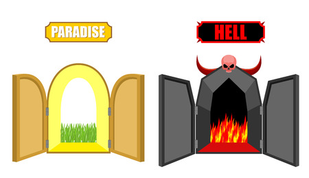 life and death: Gates of hell and paradise. Entrance to Satan and God. Scary black door in purgatory. Beautiful bright open door in Paradise gardens. Vector illustration of a religion. Choice after death of Christian. Illustration