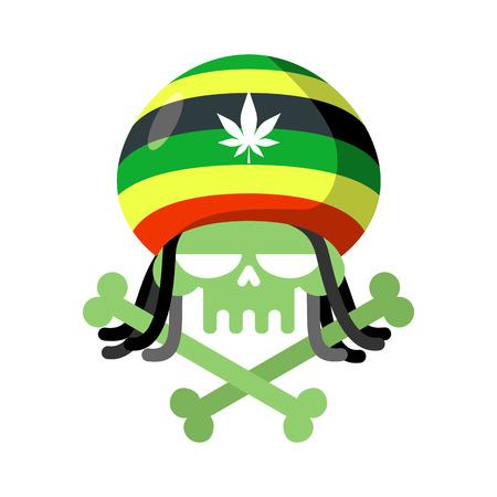 dreadlocks: Rasta skull with dreadlocks and Rasta Cap. Green head skeleton with bones. Logo for Halloween. Emblem for drugs flag