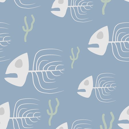 doomed: Fish skeleton seamless pattern. Vector background sad, doomed fish and algae.