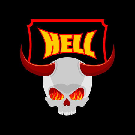 purgatory: Welcome to hell. Plate for door. Satans skull with horns. In eye of skull flame of fire of purgatory. Vector illustration of religion