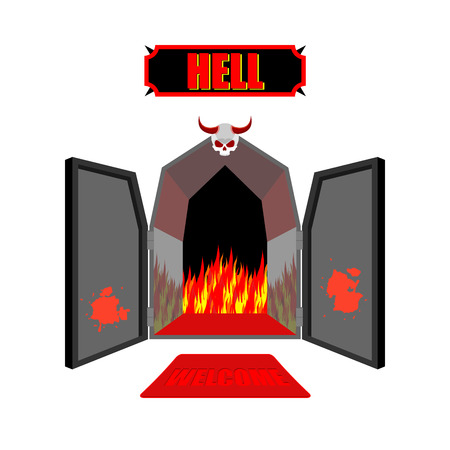 hellish: Gate to hell. Entrance to hellish Inferno. Access to Satan. Flames for combustion of sinners. Welcome to hell. Black iron open door in purgatory. Scary door with skull and horns of vector illustration. Illustration