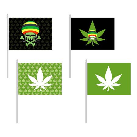 rasta colors: Rasta flags set. Banner for addicts of Jamaica. Green Skull and leaf marijuana. Head skeleton in Rasta Cap. Vector illustration