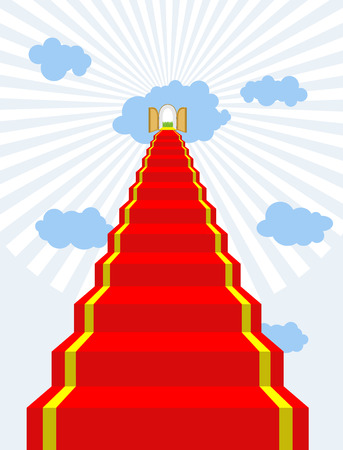 dwelling: Stairway to paradise. Red carpet into sky. Gates of paradise. Doors in clouds. Vector illustration of Gods dwelling. Climb to top of heaven.