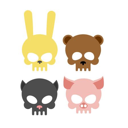 Cute animal skulls. Bear and pig. Head skeleton rabbit and cat. Vector illustration icon for Halloween. Stock Illustratie