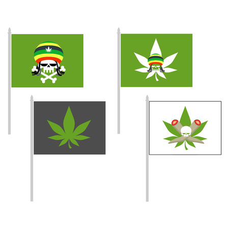 bob: Smoking drugs flag. Rasta Hat skull. Cannabis leaf. Vector illustration
