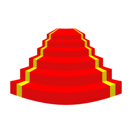 walk of fame: Red carpet on a white background. Stairs for VIP. Vector illustration