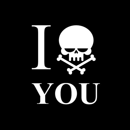 hatred: I hate you. Symbol of hatred of skull bone. Skull and bones emblem to t-shirts.