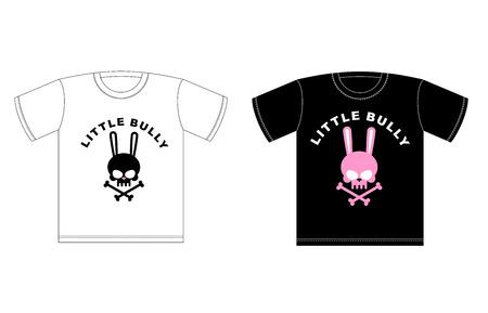 slingshot: Emblem of Little hooligans. T-shirt design. Cute Rabbit Skull with bones Illustration