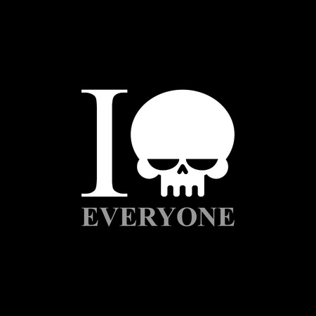 hate: I hate everyone. A symbol of hatred from  skull. Wicked Emblem to t-shirts.