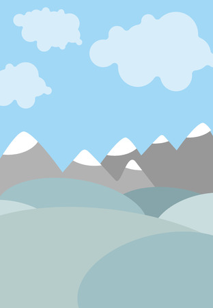 clouds cartoon: Cartoon natural landscape. Sky with clouds. Mountains and fields. Cute Vector background