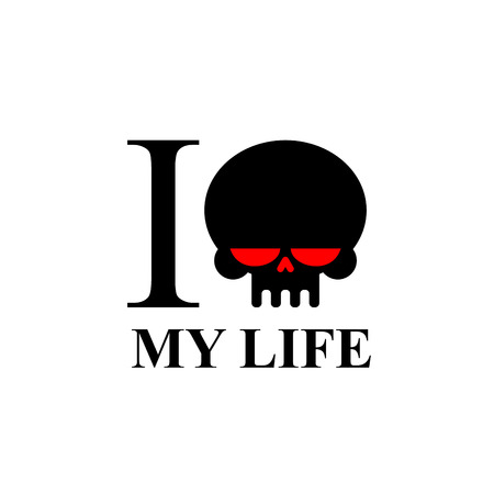 hate: I hate my life. Sad black skull with red eyes. Logo for t-shirts. Illustration
