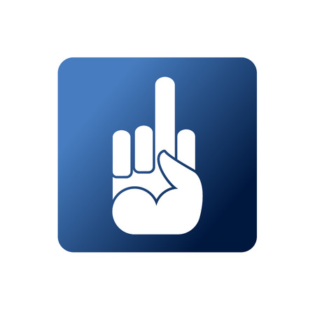 provocative:   Symbol naughty on a blue background. Social networking icons. Hand with finger Illustration
