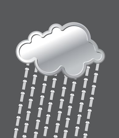 precipitaci�n: Lluvia de pernos. Metal, nube de hierro. La precipitaci�n de tornillos. Ilustraci�n del vector.