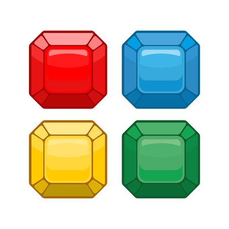 gemstones: Cartoon jewelry. Set colored gemstones. Vector illustration Illustration