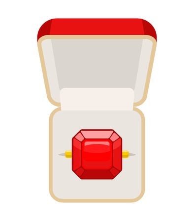 ring ruby: Ring with Ruby. Open box for jewelry. Illustration for betrothal. Wedding ring. Vector illustration of top view