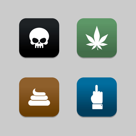 Web icons for Bully: shit and cannabis. Fuck and skull. Set of Flat icons for social networking.
