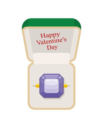 amethyst: Happy Valentines day. Amethyst ring in  box. Jewelry on a white background. Beautiful ring in green Open box for engagements and weddings