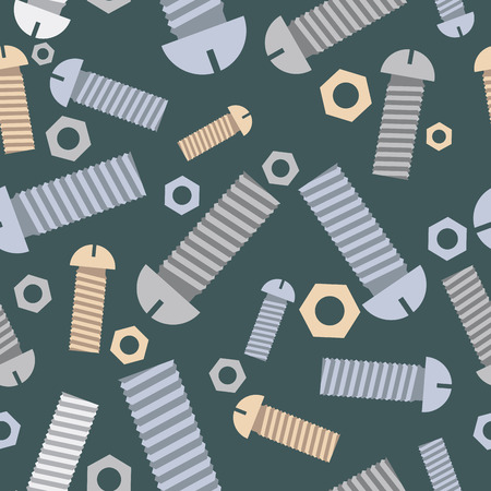 ironware: Technical seamless pattern bolts and nuts. Vector background.