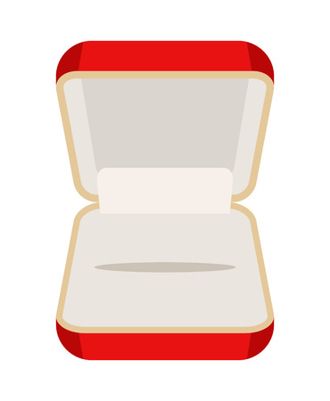 earrings: Open an empty box for jewelry. Beautiful red box for rings or earrings. Vector illustration