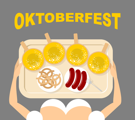 food tray: Girl with a tray with beer and sausages. Pretzels in Bowl. View from top. Oktoberfest. Traditional national food for Festival of beer.